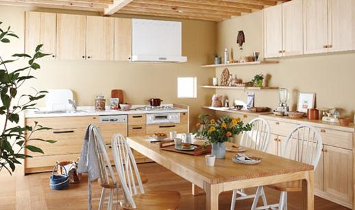 ウッドワン無垢キッチン画像